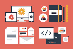 Branding and application design elements. Flat design modern vector illustration icons set of business branding and development web page, application programming Royalty Free Stock Photography