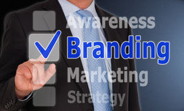 Branding business concept. With man or businessman and touchscreen or buttons stock image