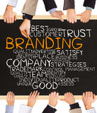 BRANDING concept. Photo of business hands holding blackboard and writing BRANDING word cloud stock photography