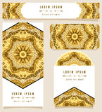 Branding Design African Golden Ornament. Gold gamut ethnic pattern for corporate identity or fashion cards. Set of flyer or poster, business card, horizontal Royalty Free Stock Images