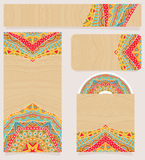 Branding Design With Bright Ethnic Pattern Stock Photo