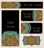 Branding Design Ethnic Pattern Set. Abstract pattern Mandala for identity firm design. Set of business cards, vertical and horizontal banners and tag. Colorful Stock Photography