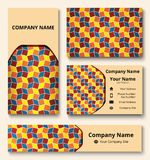 Branding design kit with decorative ornament of red, teal, orange, and yellow shades. Premium corporate identity template. Busines Stock Photos