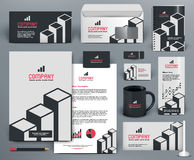 Branding design kit  with graphs. Professional  branding design kit  with graphs for investment, financial corp. Gray, white, red, black colors. Premium Stock Photos