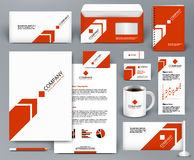 Branding design kit with red arrow on white backdrop. Professional universal red branding design kit with arrow for real estate/investment. Corporate identity Stock Image