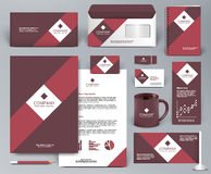 Branding design kit with red ribbon. Professional universal red branding design kit for shop, cafe, restaurant. Corporate identity template. Business stationery Stock Photo