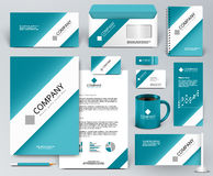 Branding design kit. White tape, ribbon on blue backdrop. Professional universal branding design kit. White tape, ribbon on blue backdrop. Corporate identity Royalty Free Stock Photo