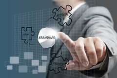 Branding diagram. Business man hand point to branding diagram Stock Photography