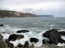 Branding dichtbij Kaap Fiolent Stock Afbeeldingen