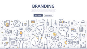 Branding Doodle Concept. Doodle  illustration of creating a unique name and image for a product in the consumers' mind. Concept of creating company identity for Royalty Free Stock Photography