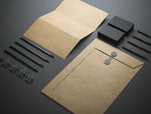 Branding elements. Blank branding elements isolated on dark background Stock Images