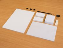 Branding elements with pencil and business cards Stock Images