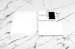 Branding identity mock up on marble royalty free stock images