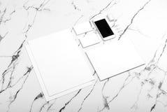 Branding identity mock up on marble stock photo