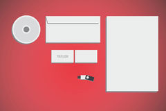 Branding identity mock up. With red background Stock Images