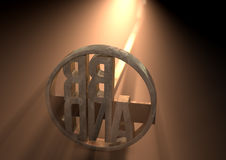 Branding Iron Brand. A metal cattle branding iron with the word brand as the marking area backlit by a bright light - 3D render Royalty Free Stock Images