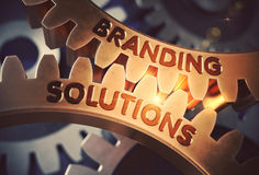Branding-Lösungen auf goldenen Zahn-Gängen Abbildung 3D vektor abbildung