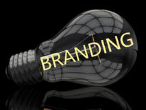 Branding. Lightbulb on black background with text in it. 3d render illustration stock images