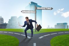 The branding and marketing concept with businessman stock photo