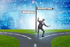 The branding and marketing concept with businessman. Branding and marketing concept with businessman stock image