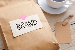 Branding marketing concept closeup product paper bag Royalty Free Stock Photo