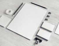 Branding mock up. Blank white stationery set. Business brand template on light wood table background. Branding mock up stock images