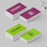 Branding Mock Up. Business Cards Template in Magenta and Lime Colors. Corporate Identity. Branding Mock Up with 3D Rotate Options with Shadow Effects Royalty Free Stock Photos