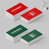 Branding Mock Up. Business Cards Template in Red and Green Colors. Corporate Identity. Branding Mock Up with 3D Rotate Options with Shadow Effects Royalty Free Stock Image