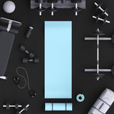 Branding mock up floor room with sports equipment.  Royalty Free Stock Photos