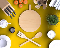 Branding mock up kitchen with table and kitchenware.. Blank template on color background for home, restaurants, cafes. View from above. 3d illustration Royalty Free Stock Photos