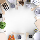 Branding mock up kitchen with table and kitchenware.. Blank template on color background for home, restaurants, cafes. View from above. 3d illustration Stock Image