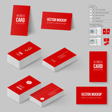 Branding Mock Up. Red Business Cards Template. Corporate Identity. Branding Mock Up with 3D Rotate Options Royalty Free Stock Image
