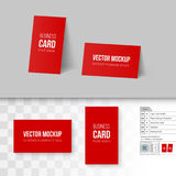 Branding Mock Up. Red Business Cards Template. Corporate Identity. Branding Mock Up with 3D Rotate Options on Gray and Transparent Background Stock Photos