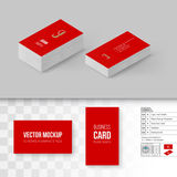 Branding Mock Up. Red Business Cards Template. Branding Mock Up with 3D Rotate Options Royalty Free Stock Photos