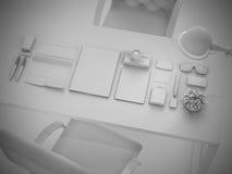 Branding mock up set of branding elements on gray background Stock Photography