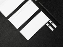 Branding MockUp. On black leather High resolution Royalty Free Stock Photo