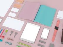 Branding mockup. colors game. Template set on black background. 3d rendering. 3D illustration Royalty Free Stock Photos