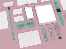 Branding mockup. colors game. Template set on black background. 3d rendering. 3D illustration Stock Image