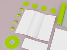 Branding mockup. colors game. Template set on pink background. 3d rendering. 3D illustration Royalty Free Stock Photos