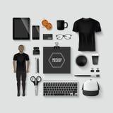 Branding mockup. Illustration black theme,Branding concept Stock Images