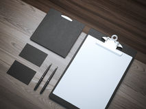 Branding mockup on the wooden table Stock Photo