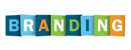 BRANDING overlapping letters banner. BRANDING colorful overlapping letters banner. Vector. Blue, green, orange palette stock illustration