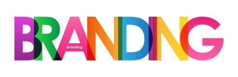 BRANDING colorful overlapping letters banner. BRANDING overlapping letters word concept banner. Rainbow palette. Vector stock illustration