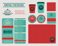 Branding and print elements for cafe. Royalty Free Stock Photography