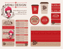 Branding and print elements for Christmas menu. Royalty Free Stock Photo