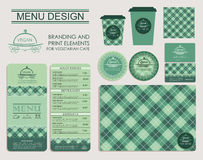 Branding and print elements for vegetarian cafe. Royalty Free Stock Images