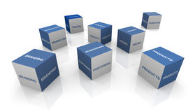 Branding process. 3d cubes of words related to branding Royalty Free Stock Photo