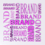 Pink Brand Word Art. A composition of various type styles of the word Brand composing a square puzzle. The words are all pink in color with a metallic sheen Royalty Free Stock Photography