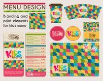 Branding und Schreibköpfe für Kindermenü Lizenzfreies Stockfoto