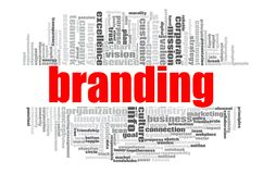 Branding word cloud. Concept on white background, 3d rendering Royalty Free Stock Photo